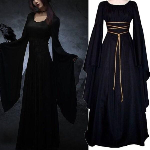 ec6ba05ecf Medieval Women Vintage Royal Sexy Long Sleeve Narrow Waist Long Floor Dress  Maxi - Black