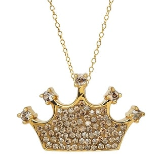 Crystaluxe Crown Pendant With Swarovski Crystals in 18K Gold-Plated Sterling Silver - Yellow