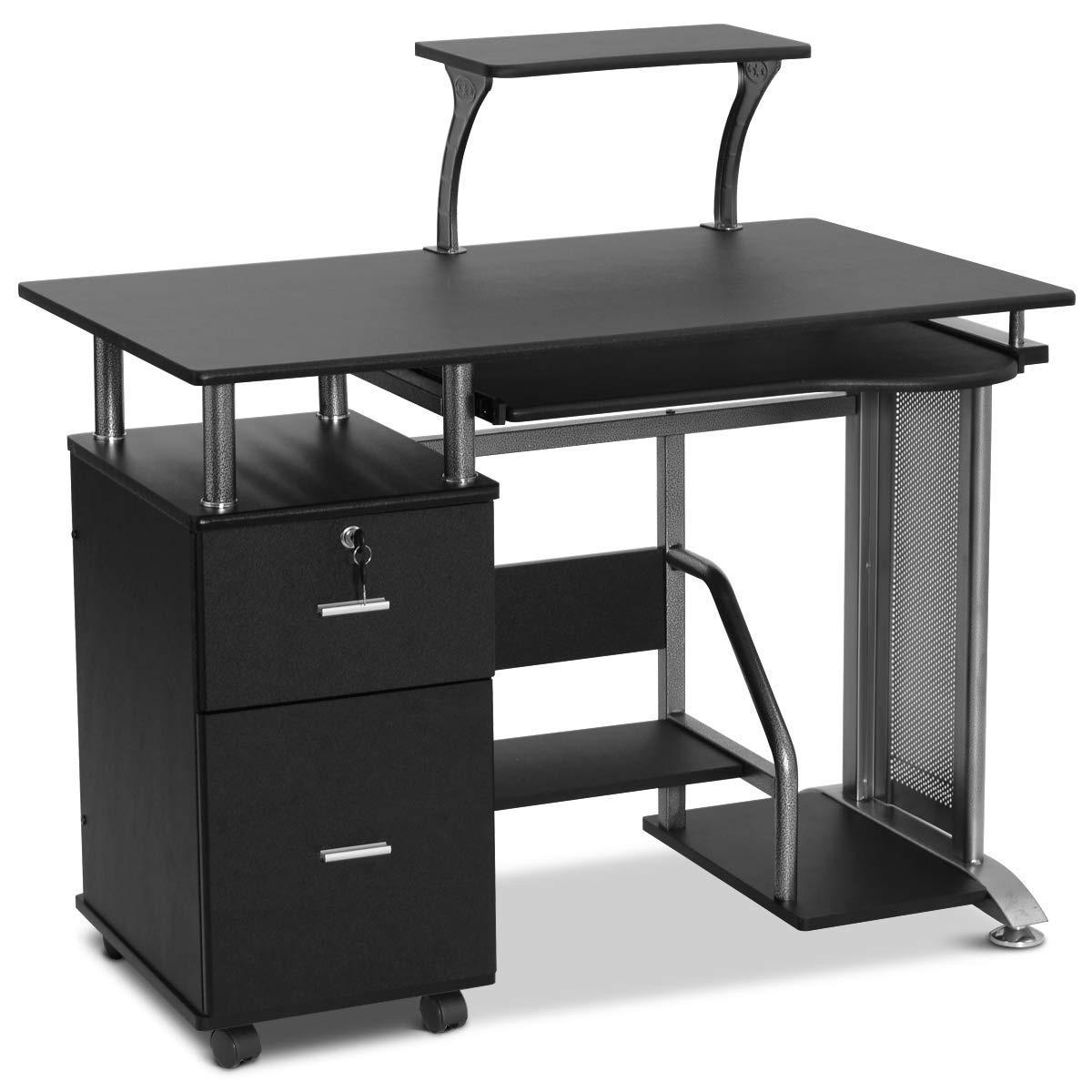 Black Computer Desk With Printer Shelf On Sale Overstock 28423238