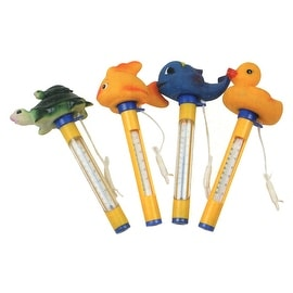 Set of 4 Yellow Floating Animal Swimming Pool Thermometers with Cords