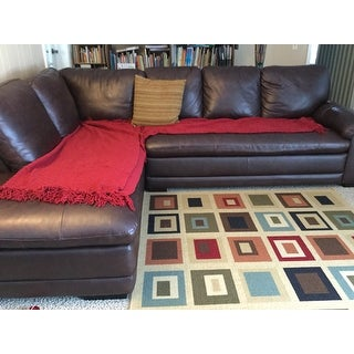 Shop Abbyson Cooper Top Grain Leather Sectional Free