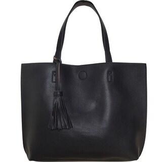 "Humble Chic Large Vegan Leather Tote Bag - Reversible Handbag Tassel Purse - 16"" x 14"" x 4.5"""