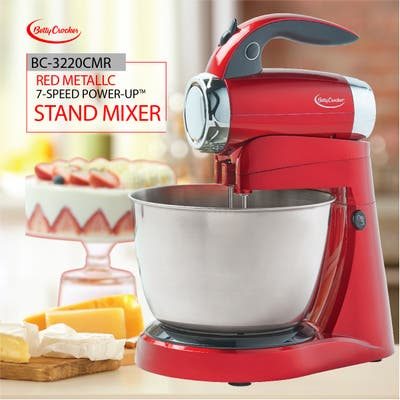 Red metallic 7-speed power up stand mixer