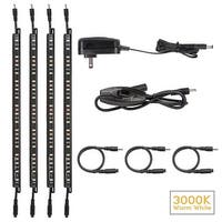 Rocker Switch LED Under Cabinet Lighting Kit: 4pcs Extendable Under Counter LED Light Bars 3000K