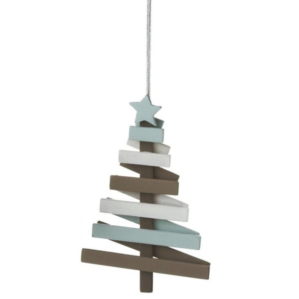 """4.75"""" Snowy Winter Country Rustic Wooden Striped Slat Tree Christmas Ornament"""