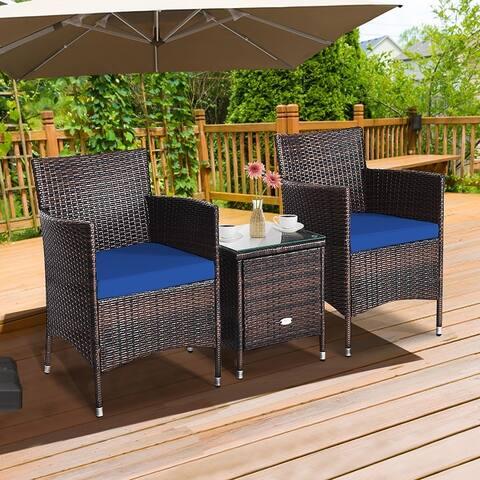 3 Pieces Patio Conversation Set Outdoor Rattan Furniture