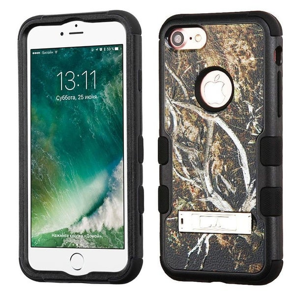 Insten Yellow/ Black Vines Tuff Hard PC/ Silicone Dual Layer Hybrid Rubberized Matte Case Cover with Stand For Apple iPhone 7