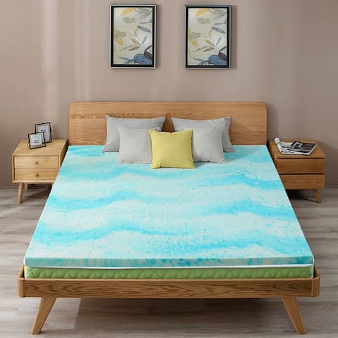 Cool Swirl Gel Memory Foam Mattress Topper - Blue