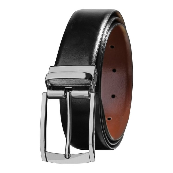 Savile Row Men's Top Grain Leather Reversible Belt, Black & Brown, Classic & Fashion Designs, Sizes 32-42