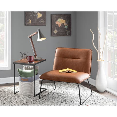 Carbon Loft Kerby Industrial Faux Leather Accent Chair - N/A