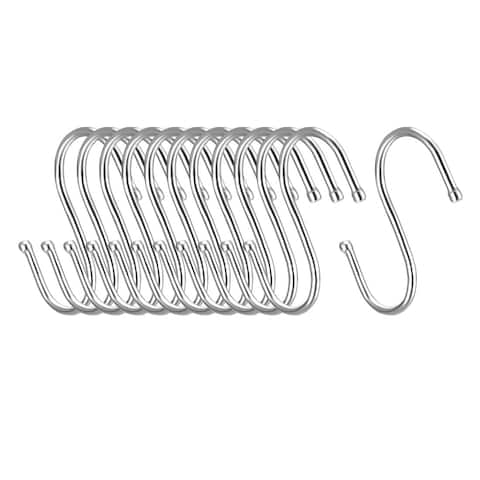 "Metal S Hooks 3.15"" S Shaped Hook Hangers for Kitchen Multiple Uses 12pcs - White - 3Pack"