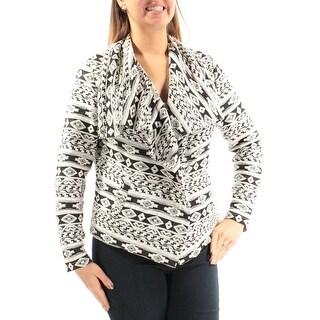 Womens Black White Casual Wrap Jacket Size L