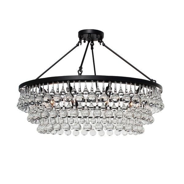 Celeste Glass Flush Mount Crystal Chandelier, Black. Opens flyout.