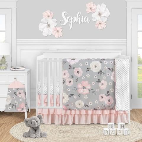 Grey Watercolor Floral Girl 4pc Nursery Crib Bedding Set - Blush Pink Gray White Shabby Chic Rose Flower Polka Dot Farmhouse
