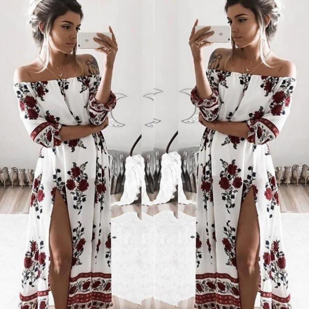 Summer Beach Dress with Retro Split Beach Dress Womens Clothing