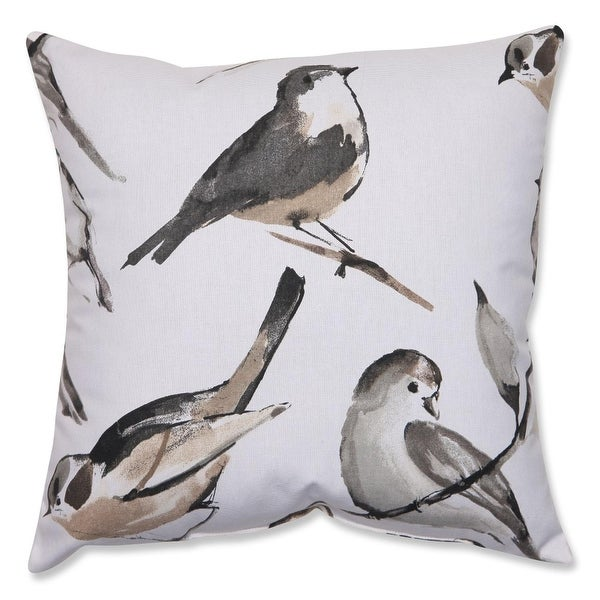 "16.5"" Black and Gray Bird Lovers Decorative Throw Pillow"