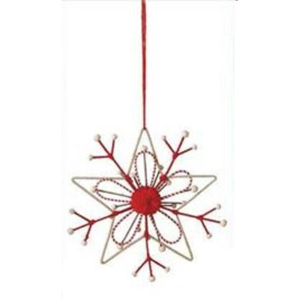 "7"" Alpine Chic Tan and Red Country Rustic Style Snowflake Christmas Ornament"