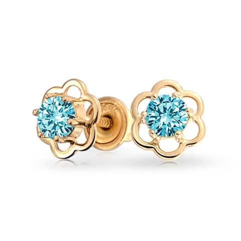 Open Flower Earrings Cubic Zirconia Real 14K Yellow Gold Screwback