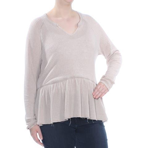 WILLIAM RAST Womens Beige Ruffled Houndstooth Long Sleeve Top Plus Size: XL