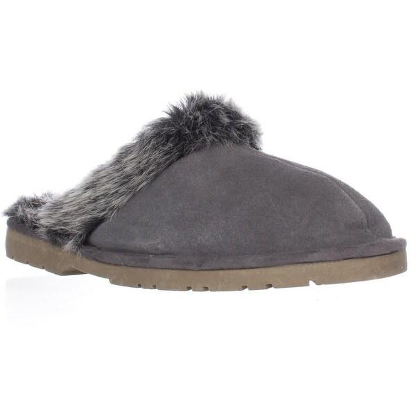 Sporto Jasmine Faux Fur Mule Slippers, Grey