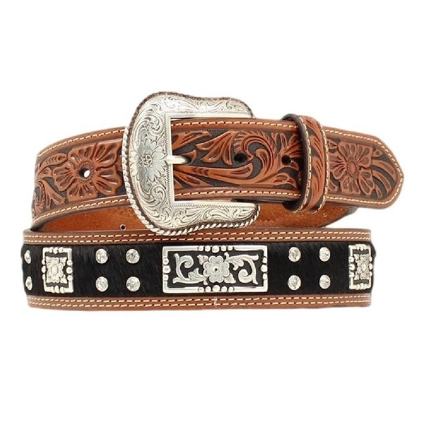 Nocona Western Belt Mens Leather Hair Rhinestones Black Brown