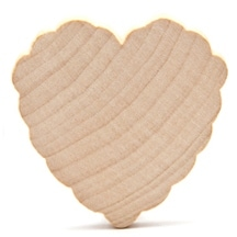 "300 Pcs of 2"" x 3/16"" Scalloped Hearts ready to paint and decorate"