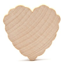 "50 Pcs of 2"" x 3/16"" Scalloped Hearts ready to paint and decorate"