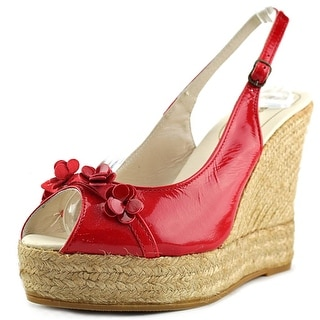 Espadrilles Shine Open Toe Patent Leather Wedge Heel