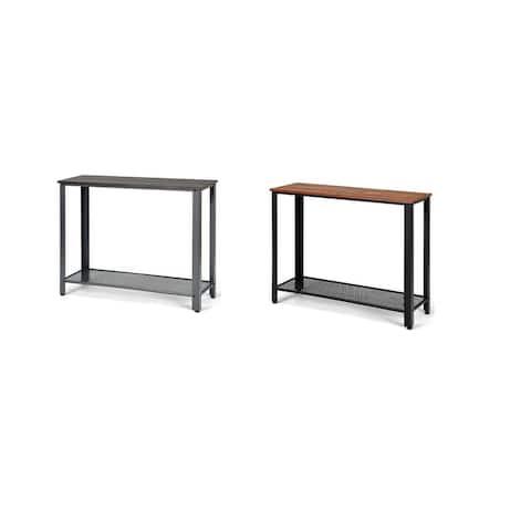 Costway Console Sofa Table W/ Storage Shelf Metal Frame Wood Look