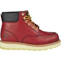 """Roadmate Boot Co. Men's 955 6"""" Padded Collar Moc Toe Work Boot Red Oak Oil Full Grain Leather"""