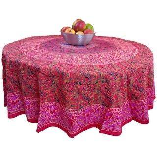 Sanganer Mandala Floral Cotton Tablecloth Rectangular Round Square Red