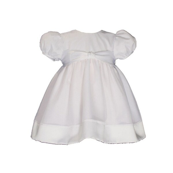 Baby Girls White Organza Satin Hem Christening Dress Gown