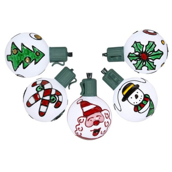 Set of 10 Battery Operated Painted Christmas Traditions LED G50 Lights - Green Wire - WHITE