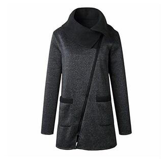 Plus Size Fall WinterCasual Solid Color Jacket Coat Long Zipper Sweatshirt Outwear Tops For Women