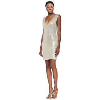 Alice & Olivia Sequin Embellished V-Neck Sheath Cocktail Dress