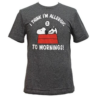 """Peanuts Snoopy Men's """"Allergic To Mornings"""" T-Shirt"""