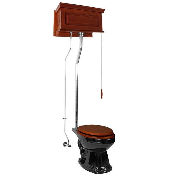 Mahogany Raised High Tank Pull Chain Water Closet With Elongated Toilet Bowl