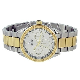 Mens Ice Time Watch Chronograph Analog Display Genuine Diamonds 2 Tone Silver & Gold Classy