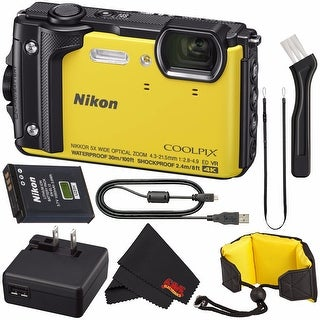 Nikon COOLPIX W300 Digital Camera (Yellow) 26525 International Model + Nikon Waterproof Floating Strap + MicroFiber Cloth Bundle