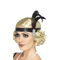 Black Charleston Headband, 1920s Headpiece - One Size Fits most