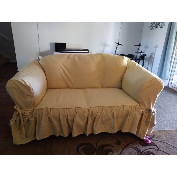 Astonishing Top Product Reviews For Ruffled Cotton Loveseat Slipcover Pdpeps Interior Chair Design Pdpepsorg