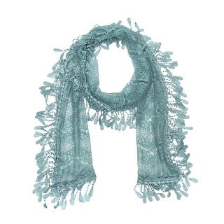 """Women's Sheer Lace Scarf With Fringe - Blue - 70"""" x 11"""""""