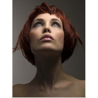 """""""Portrait of pensive woman with bare shoulders"""" Poster Print"""