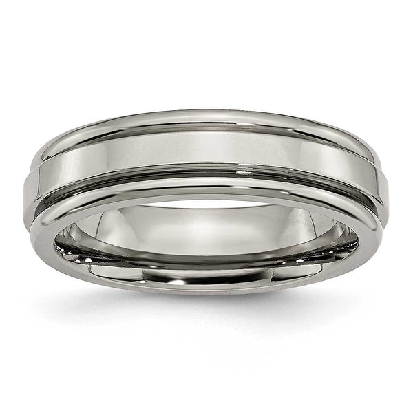 Chisel Grooved Edge Polished Titanium Ring (6.0 mm)