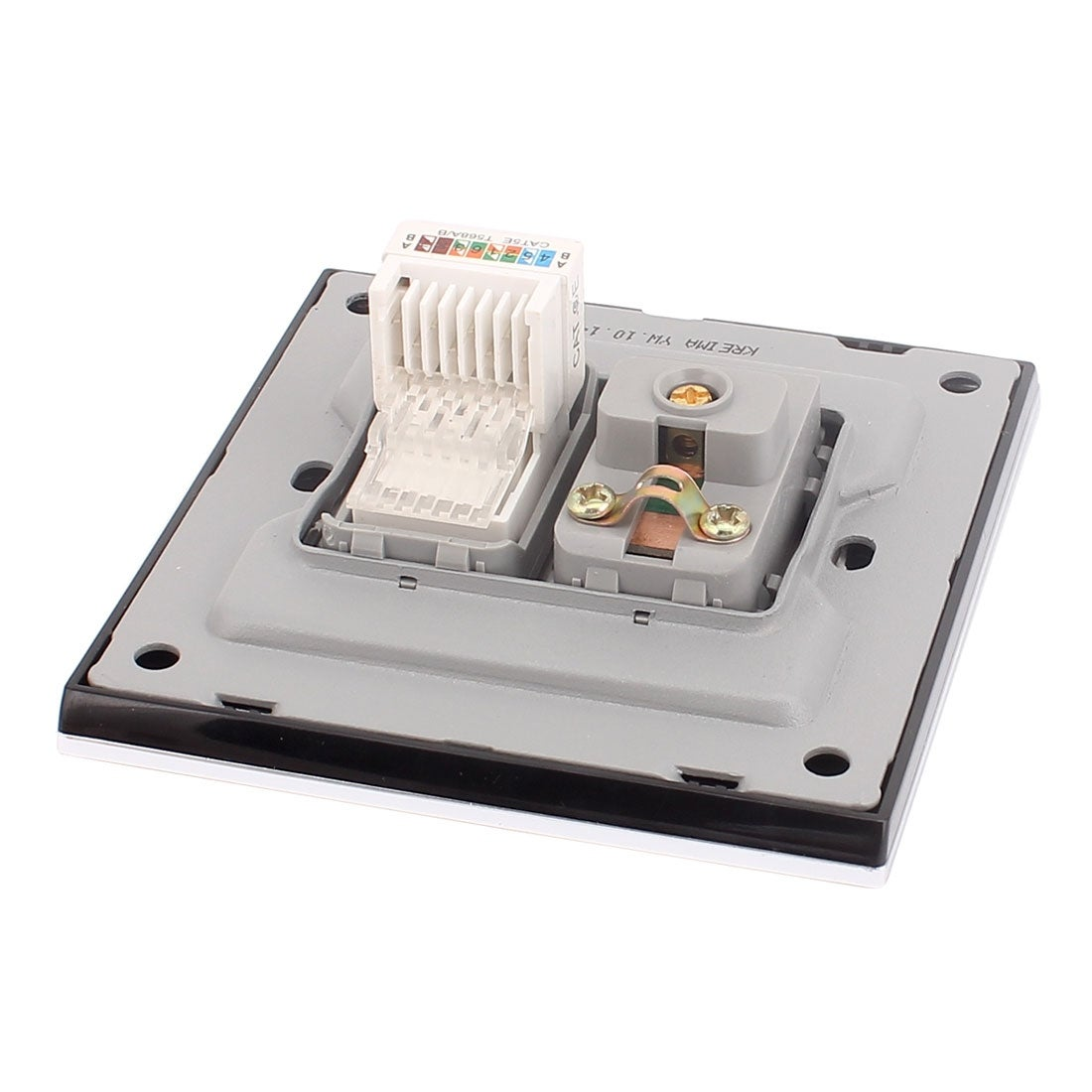 TV Aerial Female Socket RJ45 8P8C Network Wall Outlet Connect Panel Plate  Black