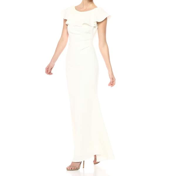 Jessica Howard Ivory Womens Size 14 Ruffle Popover Lace Gown Dress