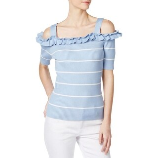Grace Elements Womens Pullover Sweater Cold Shoulder Striped - L