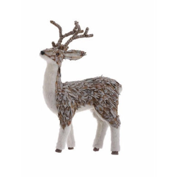 """16"""" Eco Country White Natural Fiber Male Reindeer Christmas Table Top Figurine - brown"""