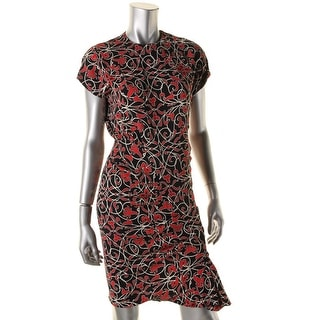 Nicole Miller Womens Pleated Printed Wear to Work Dress