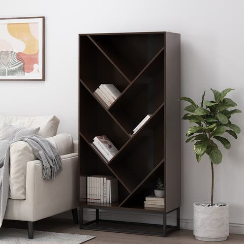 """Bucy Modern Industrial 6 Shelf V Bookcase by Christopher Knight Home - 31.50"""" L x 13.00"""" W x 65.00"""" H"""